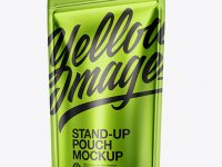 Matte Metallic Stand-up Pouch Mockup - Half Side View