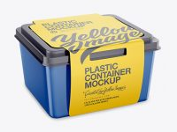 Plastic Container With Paper Label Mockup - Half Side View
