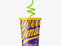 Glossy Soda Cup With Straw Mockup