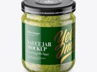 Clear Glass Jar with Pesto Sauce Mockup (High-Angle Shot)