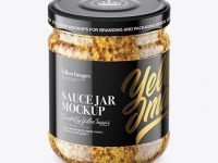 Clear Glass Jar with Wholegrain Mustard Mockup (High-Angle Shot)