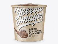 Kraft Paper Ice Cream Cup Mockup