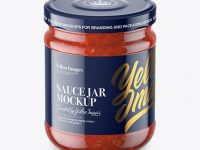 Clear Glass Jar with Meat Sauce Mockup (High-Angle Shot)