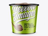 Metallic Ice Cream Cup Mockup