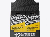 12 Boxes Pack Mockup - Front View