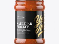 Clear Glass Jar with Bolognese Sauce Mockup