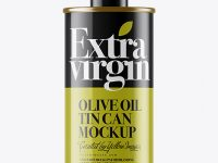 Glossy Olive Oil Tin Can w/ Cap Mockup