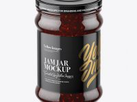 Clear Glass Jar with Raspberry Jam Mockup (High-Angle Shot)