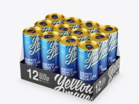 Transparent Pack with 12 Aluminium Cans Mockup - Half Side View (High-Angle Shot)