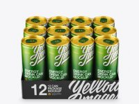 Transparent Pack with 12 Aluminium Cans Mockup - Front View (High-Angle Shot)