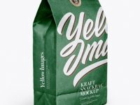 Glossy Kraft Paper Bag With Label Mockup - Half Side View