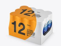 12 Can Matte Pack Mockup - Half Side View