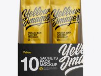 10x Sachets Opened Box Mockup - Front/Right/Left/Back Views