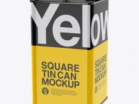 Glossy Square Tin Can Mockup - Half Side View