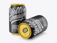 Two 330ml Matte Aluminium Cans Mockup