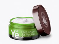 Open Green Cream Jar With Metallic Cap Mockup (High-Angle Shot)