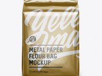 Metallic Paper Flour Bag Mockup - Front View (Eye-Level Shot)