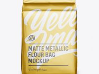 Matte Metallic Flour Bag Mockup - Front View (Eye-Level Shot)