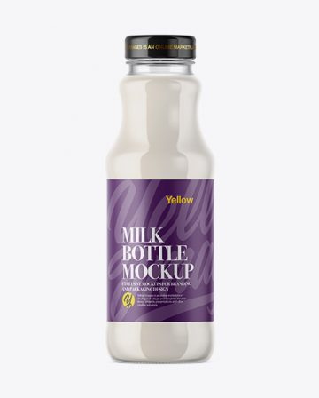 Clear Glass Bottle With Milk Mockup