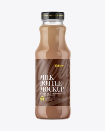 Clear Glass Bottle With Chocolate Milk Mockup