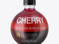 13.5Oz PET Bottle with Cherry Drink Mockup