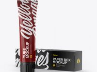 Glossy Toothpaste Tube & Paper Box Mockup