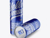 Two 250ml Metallic Aluminium Cans Mockup