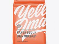 Glossy Paper Flour Bag Mockup - Front View (Eye-Level Shot)