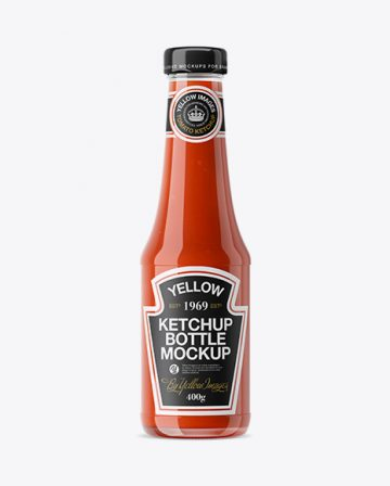 Clear Glass Tomato Ketchup Bottle Mockup