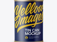 Tin Can With Textured Label Mockup