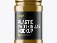 Metallic Protein Jar With Paper Label Mockup