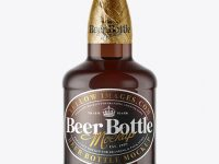 330ml Amber Glass Lager Beer Bottle with Foil Mockup