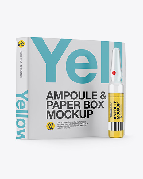 Glass Ampoule With Liquid & Box Mockup