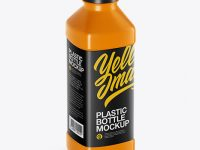 Glossy PET Bottle Mockup - Half Side View (High-Angle Shot)