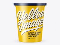 Glossy Sour Cream Container Mockup
