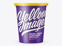 Matte Sour Cream Container Mockup