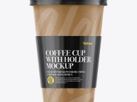Paper Coffee Cup With Sleeve Mockup - Front View