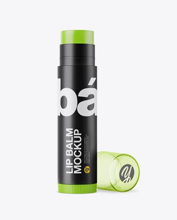 Opened Matte Lip Balm Tube With Transparent Cap Mockup