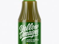 Green Glass Juice Bottle Mockup