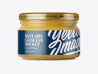 250ml Clear Glass Jar with Mustard Mockup - Front View