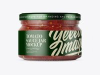 250ml Clear Glass Jar with Tomato Sauce Mockup - Front View