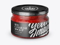 250ml Clear Glass Jar with Red Caviar Mockup (High-Angle Shot)