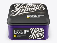 Matte Square Lunch Box Mockup (High Angle Shot)
