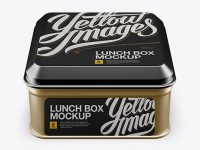 Metallic Square Lunch Box Mockup (High Angle Shot)