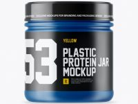 Matte Plastic Protein Jar With Glossy Cap Mockup