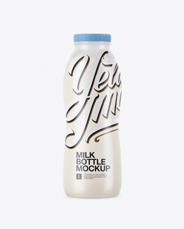 Frosted Plastic Bottle With Milk Mockup