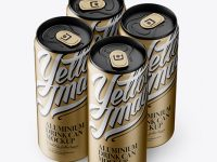 4 Matte Metallic Aluminium Cans Mockup - Half Side View (High Angle Shot)