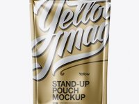 Matte Metallic Stand Up Pouch Mockup