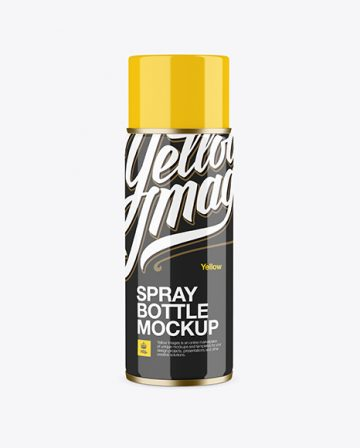 Glossy Spray Can With Plastic Cap Mockup - Front View