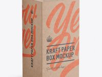 Kraft Carton Box with Hang Tab Mockup - Half Side View (high-angle shot)